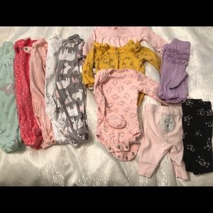 Newborn Lot Footed Onesies, pants and bodysuits